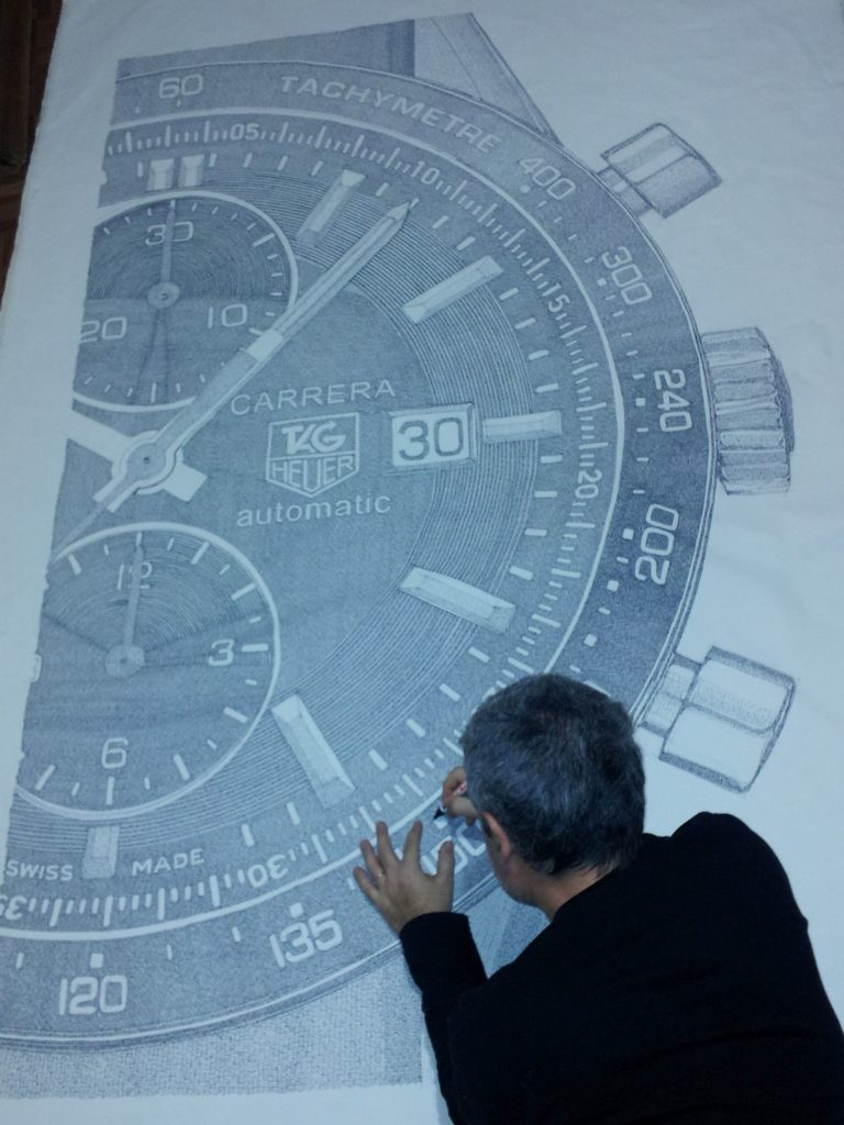 Pablo Franchi drawing a tag heuer watch